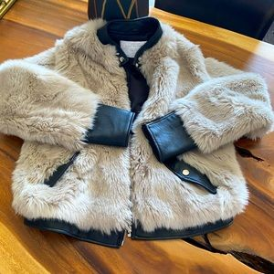 Zara jacket leather and faux fur !